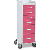 "TrippNT™ 51356 Tall Locking 6 Drawer Medical Cart, Watermelon Pink, 16""W x 19""D x 47""H"