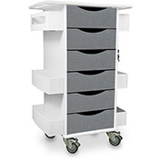 "TrippNT™ Core Locking 6 Drawer Lab Cart, 23""W x 19""D x 35""H, Silver Metallic"
