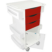 "TrippNT™ Deluxe Medical Cart with Clear Hinged Door, Cherry Red, 23""W x 19""D x 35""H"