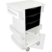 "TrippNT™ Deluxe Medical Cart with Clear Hinged Door, Black, 23""W x 19""D x 35""H"
