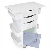 """TrippNT™ Core DX Lab Cart with Extended 29"""" Top and Blue Hinged Door, 29""""W x 19""""D x 35""""H"""