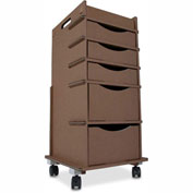 """TrippNT™ TrippGo Disposable Cart in Brown with 5 Drawers 16""""W x 17""""D x 34""""H, 3/Pack"""
