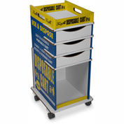 """TrippNT™ TrippGo Easily Identifiable Disposable Cart with 3 Drawers 16""""W x 17""""D x 34""""H, 50/Pack"""