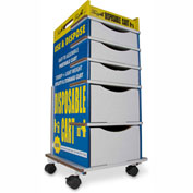 """TrippNT™ TrippGo Easily Identifiable Disposable Cart with 5 Drawers 16""""W x 17""""D x 34""""H, 50/Pack"""