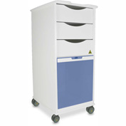 "TrippNT™ White MRI Core SP Lab Cart with Blue Sliding Door, 15""W x 19""D x 33""H"