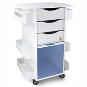 "TrippNT™ White MRI Core DX Lab Cart with Blue Sliding Door, 23""W x 19""D x 33""H"