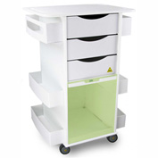 "TrippNT™ White MRI Core DX Lab Cart with Green Sliding Door, 23""W x 19""D x 33""H"