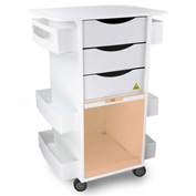 "TrippNT™ White MRI Core DX Lab Cart with Orange Sliding Door, 23""W x 19""D x 33""H"