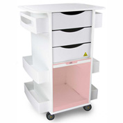 "TrippNT™ White MRI Core DX Lab Cart with Red Sliding Door, 23""W x 19""D x 33""H"