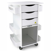 "TrippNT™ White MRI Core DX Lab Cart with Smoke Sliding Door, 23""W x 19""D x 33""H"