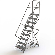 9 Step Steel Easy Turn Rolling Ladder, Serrated Tread, Safety Angle - KDAD109242