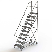 10 Step Steel Easy Turn Rolling Ladder, Serrated Tread, Safety Angle - KDAD110242