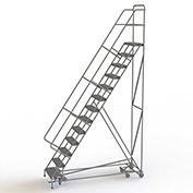 13 Step Steel Easy Turn Rolling Ladder, Serrated Tread, Safety Angle - KDAD113242