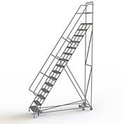 15 Step Steel Easy Turn Rolling Ladder, Serrated Tread, Safety Angle - KDAD115246