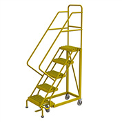 "5 Step 16""W Steel Safety Angle Rolling Ladder, Grip Strut, Safety Yellow - KDEC105162-Y"