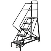 "5 Step 16""W Steel Safety Angle Rolling Ladder, Perforated Tread, Gray - KDEC105166"