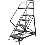 "5 Step 24""W Steel Safety Angle Rolling Ladder, Perforated Tread, Gray - KDEC105246"