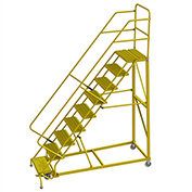 "9 Step 24""W Steel Safety Angle Rolling Ladder, Grip Strut, Safety Yellow - KDEC109242-Y"