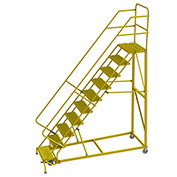 """10 Step 24""""W Steel Safety Angle Rolling Ladder, Grip Strut, Safety Yellow - KDEC110242-Y"""