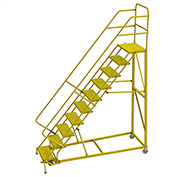 """10 Step 24""""W Steel Safety Angle Rolling Ladder, Perforated Tread, Safety Yellow - KDEC110246-Y"""