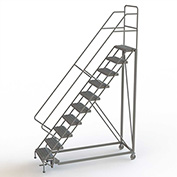 """10 Step 24""""W Steel Safety Angle Rolling Ladder, Perforated Tread, Gray - KDEC110246"""