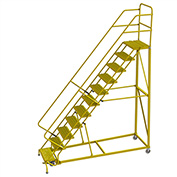 "11 Step 24""W Steel Safety Angle Rolling Ladder, Grip Strut, Safety Yellow - KDEC111242-Y"
