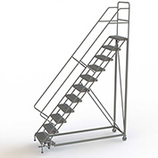 "11 Step 24""W Steel Safety Angle Rolling Ladder, Perforated Tread, Gray - KDEC111246"