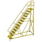 """13 Step 24""""W Steel Safety Angle Rolling Ladder, Grip Strut, Safety Yellow - KDEC113242-Y"""