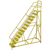 """13 Step 24""""W Steel Safety Angle Rolling Ladder, Perforated Tread, Safety Yellow - KDEC113246-Y"""