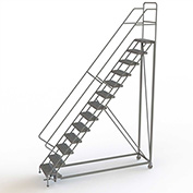 """13 Step 24""""W Steel Safety Angle Rolling Ladder, Perforated Tread, Gray - KDEC113246"""