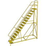 """15 Step 24""""W Steel Safety Angle Rolling Ladder, Grip Strut, Safety Yellow - KDEC115242-Y"""