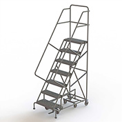 7 Step Steel Easy Turn Rolling Ladder, Serrated Tread, Standard Angle - KDED107242