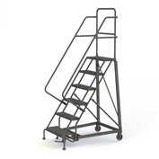 6 Step Perforated Strut 600 Lb. Cap. Heavy Duty Steel Rolling Ladder - KDHD106246
