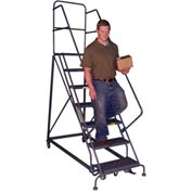 10 Step Heavy-Duty 600 Lb. Cap. Safety Angle Steel Rolling Ladder - Grip Strut - KDHS110242
