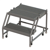 "2 Step 24""W 20""D Top Step Steel Rolling Ladder, Grip Strut Tread, No Handrail - KDSR002242-D2"