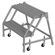 "2 Step 24""W 10""D Top Step Steel Rolling Ladder, Grip Strut Tread, No Handrail - KDSR002242"