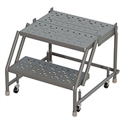 "2 Step 24""W 30""D Top Step Steel Rolling Ladder, Perforated Tread, No Handrail - KDSR002246-D3"