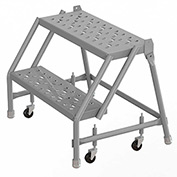 "2 Step 24""W 10""D Top Step Steel Rolling Ladder, Perforated Tread, No Handrail - KDSR002246"