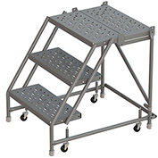 """3 Step 24""""W 20""""D Top Step Steel Rolling Ladder, Perforated Tread, No Handrail - KDSR003246-D2"""