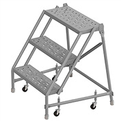 """3 Step 24""""W 10""""D Top Step Steel Rolling Ladder, Perforated Tread, No Handrail - KDSR003246"""