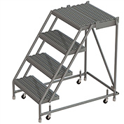 "4 Step 16""W 20""D Top Step Steel Rolling Ladder, Grip Strut Tread, No Handrail - KDSR004162-D2"