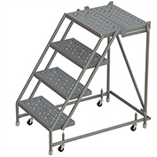 """4 Step 16""""W 30""""D Top Step Steel Rolling Ladder, Perforated Tread, No Handrail - KDSR004166-D3"""