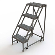 """4 Step 16""""W 10""""D Top Step Steel Rolling Ladder, Perforated Tread, No Handrail - KDSR004166"""
