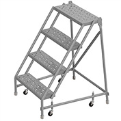 """4 Step 24""""W 10""""D Top Step Steel Rolling Ladder, Perforated Tread, No Handrail - KDSR004246"""