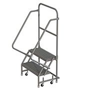"2 Step 16""W 10""D Top Step Steel Rolling Ladder, Grip Strut Tread, No Handrail - KDSR102162"