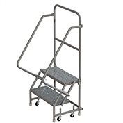 "2 Step 16""W 10""D Top Step Steel Rolling Ladder, Perforated Tread, No Handrail - KDSR102166"