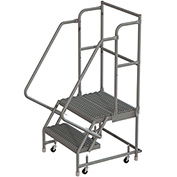 "2 Step 24""W 20""D Top Step Steel Rolling Ladder, Grip Strut Tread, 36"" Handrail - KDSR102242-D2"