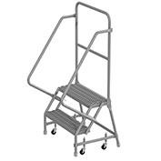 "2 Step 24""W 10""D Top Step Steel Rolling Ladder, Grip Strut Tread, 36"" Handrail - KDSR102242"