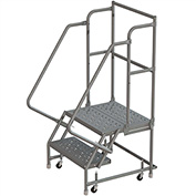 "2 Step 24""W 20""D Top Step Steel Rolling Ladder, Perforated Tread, 36"" Handrail - KDSR102246-D2"