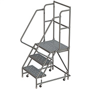 "3 Step 16""W 10""D Top Step Steel Rolling Ladder, Perforated Tread, 36"" Handrail - KDSR103166"
